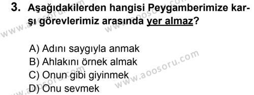 Din Kültürü ve Ahlak Bilgisi 8 Dersi 2012 - 2013 Yılı 2. Dönem Sınavı 3. Soru