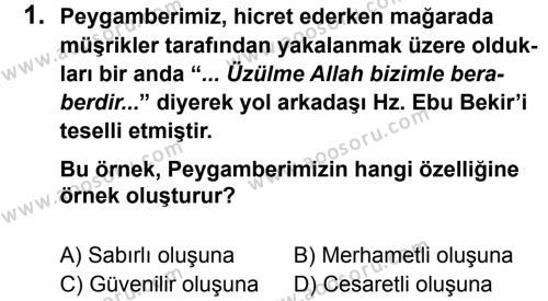 Din Kültürü ve Ahlak Bilgisi 8 Dersi 2012 - 2013 Yılı 3. Dönem Sınavı 1. Soru