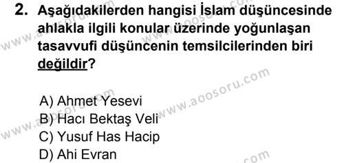 Din Kültürü ve Ahlak Bilgisi 8 Dersi 2012 - 2013 Yılı 3. Dönem Sınavı 2. Soru