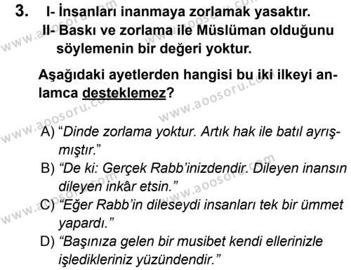 Din Kültürü ve Ahlak Bilgisi 8 Dersi 2012 - 2013 Yılı 3. Dönem Sınavı 3. Soru