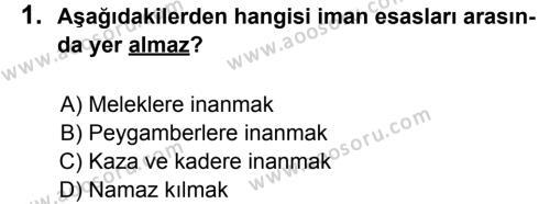 Din Kültürü ve Ahlak Bilgisi 8 Dersi 2013 - 2014 Yılı 1. Dönem Sınavı 1. Soru
