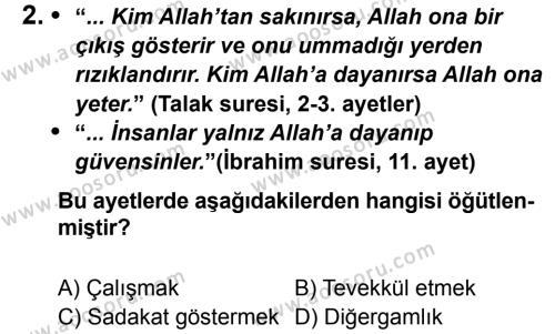 Din Kültürü ve Ahlak Bilgisi 8 Dersi 2013 - 2014 Yılı 1. Dönem Sınavı 2. Soru