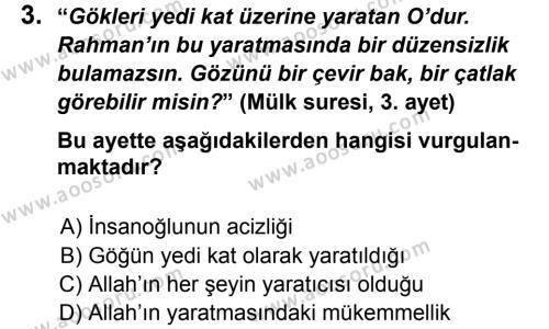 Din Kültürü ve Ahlak Bilgisi 8 Dersi 2013 - 2014 Yılı 1. Dönem Sınavı 3. Soru