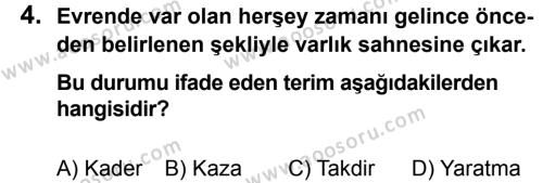 Din Kültürü ve Ahlak Bilgisi 8 Dersi 2013 - 2014 Yılı 1. Dönem Sınavı 4. Soru