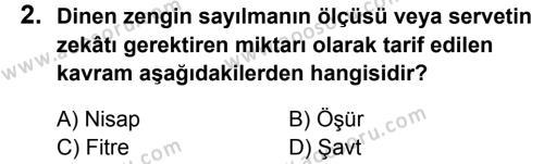 Din Kültürü ve Ahlak Bilgisi 8 Dersi 2013 - 2014 Yılı 2. Dönem Sınavı 2. Soru