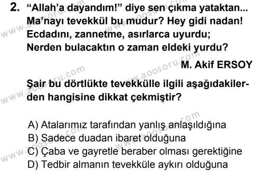 Din Kültürü ve Ahlak Bilgisi 8 Dersi 2013 - 2014 Yılı 3. Dönem Sınavı 2. Soru