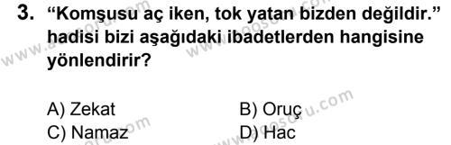 Din Kültürü ve Ahlak Bilgisi 8 Dersi 2014 - 2015 Yılı 1. Dönem Sınavı 3. Soru