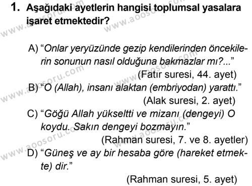 Din Kültürü ve Ahlak Bilgisi 8 Dersi 2014 - 2015 Yılı 2. Dönem Sınavı 1. Soru