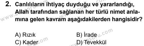 Din Kültürü ve Ahlak Bilgisi 8 Dersi 2014 - 2015 Yılı 3. Dönem Sınavı 2. Soru