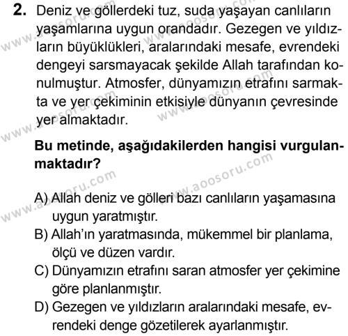 Din Kültürü ve Ahlak Bilgisi 8 Dersi 2016 - 2017 Yılı 3. Dönem Sınavı 2. Soru