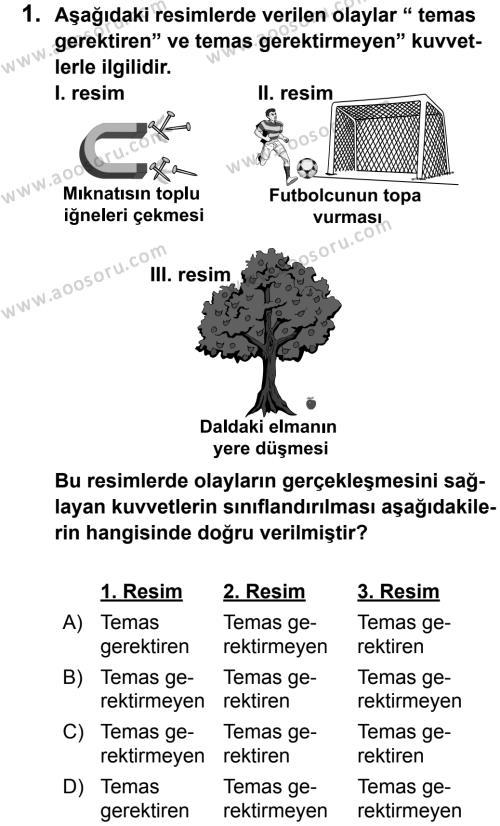 Fen Bilimleri 5 Dersi 2012 - 2013 Yılı 1. Dönem Sınavı 1. Soru