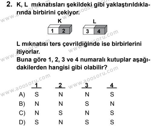 Fen Bilimleri 5 Dersi 2012 - 2013 Yılı 1. Dönem Sınavı 2. Soru