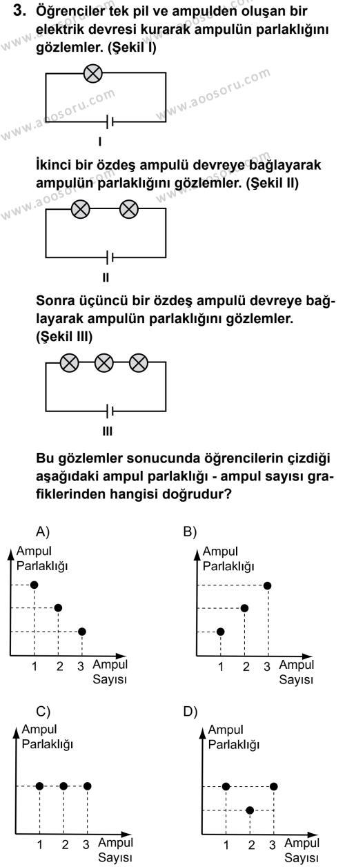 Fen Bilimleri 5 Dersi 2012 - 2013 Yılı 1. Dönem Sınavı 3. Soru