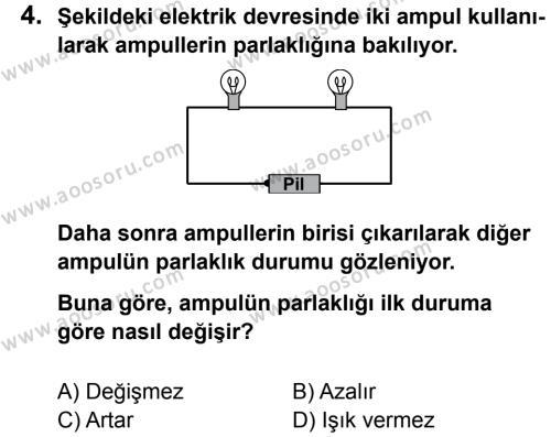 Fen Bilimleri 5 Dersi 2012 - 2013 Yılı 2. Dönem Sınavı 4. Soru