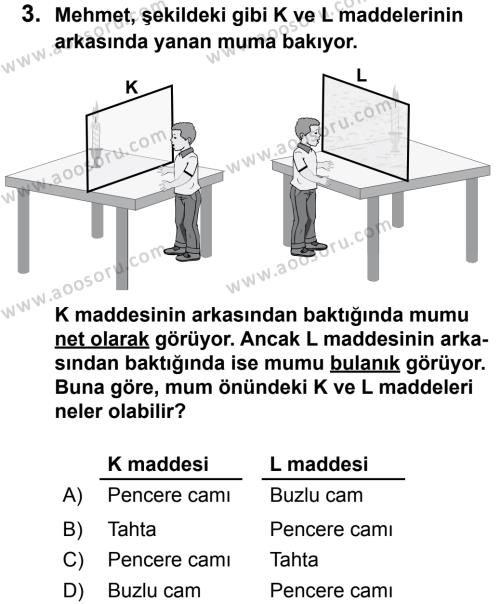Fen Bilimleri 5 Dersi 2013 - 2014 Yılı 2. Dönem Sınavı 3. Soru