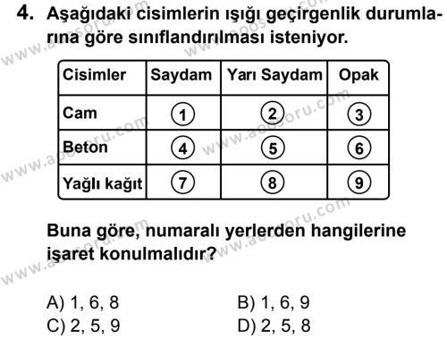 Fen Bilimleri 5 Dersi 2013 - 2014 Yılı 3. Dönem Sınavı 4. Soru