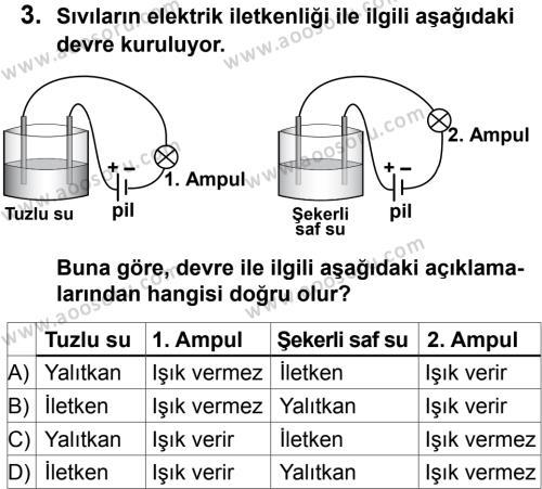 Fen Bilimleri 6 Dersi 2012 - 2013 Yılı 1. Dönem Sınavı 3. Soru