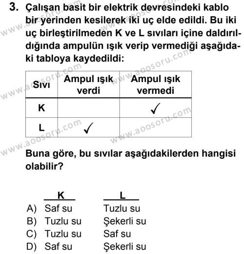Fen Bilimleri 6 Dersi 2012 - 2013 Yılı 3. Dönem Sınavı 3. Soru