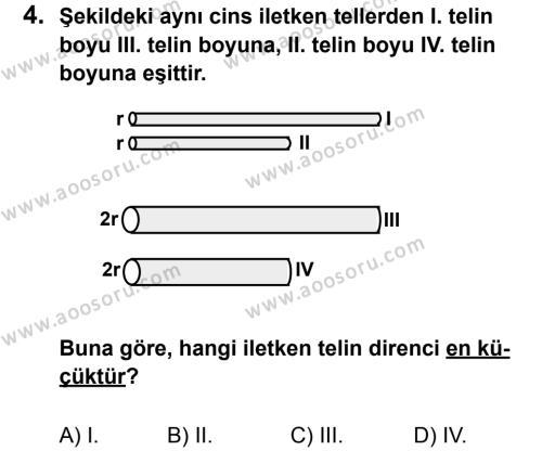 Fen Bilimleri 6 Dersi 2012 - 2013 Yılı 3. Dönem Sınavı 4. Soru