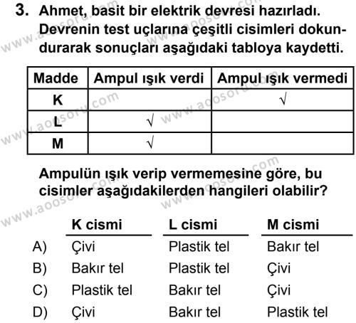 Fen Bilimleri 6 Dersi 2013 - 2014 Yılı 2. Dönem Sınavı 3. Soru