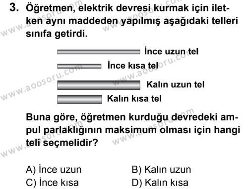 Fen Bilimleri 6 Dersi 2013 - 2014 Yılı 3. Dönem Sınavı 3. Soru