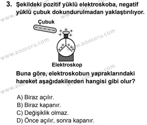 Fen Bilimleri 7 Dersi 2012 - 2013 Yılı 2. Dönem Sınavı 3. Soru