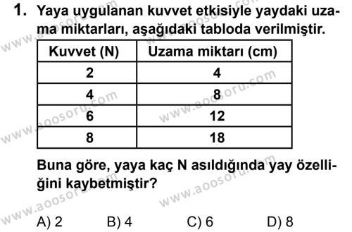 Fen Bilimleri 7 Dersi 2013 - 2014 Yılı 1. Dönem Sınavı 1. Soru