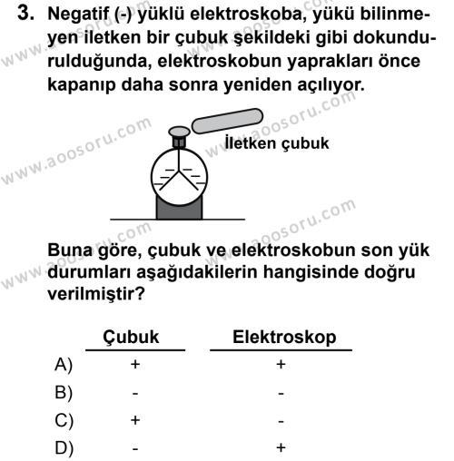 Fen Bilimleri 7 Dersi 2013 - 2014 Yılı 3. Dönem Sınavı 3. Soru