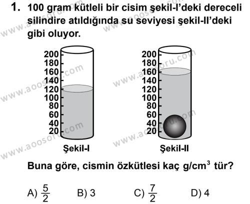 Fen Bilimleri 8 Dersi 2012 - 2013 Yılı 1. Dönem Sınavı 1. Soru