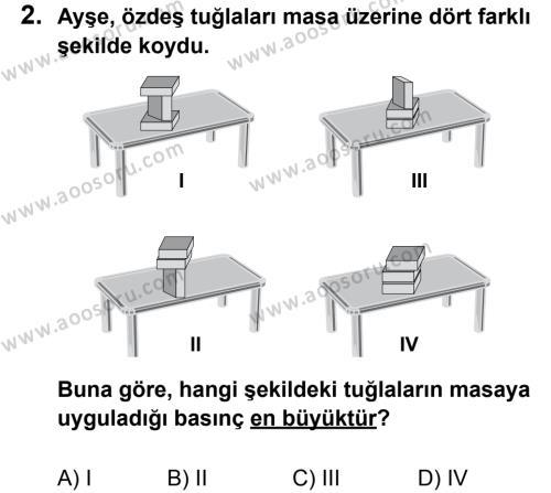 Fen Bilimleri 8 Dersi 2012 - 2013 Yılı 2. Dönem Sınavı 2. Soru
