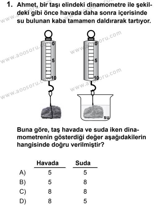 Fen Bilimleri 8 Dersi 2013 - 2014 Yılı 2. Dönem Sınavı 1. Soru