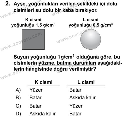 Fen Bilimleri 8 Dersi 2013 - 2014 Yılı 2. Dönem Sınavı 2. Soru