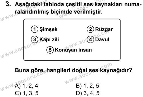 Fen Bilimleri 8 Dersi 2013 - 2014 Yılı 3. Dönem Sınavı 3. Soru
