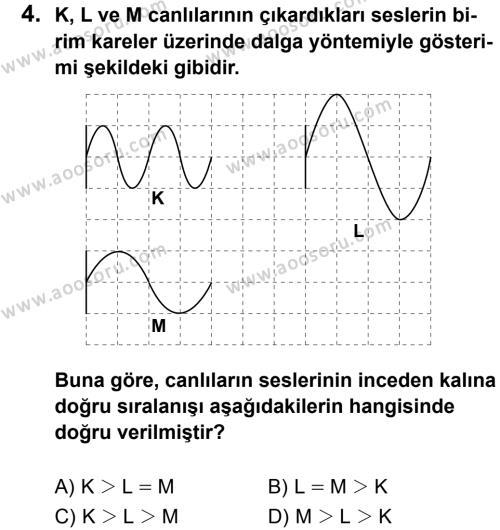 Fen Bilimleri 8 Dersi 2013 - 2014 Yılı 3. Dönem Sınavı 4. Soru