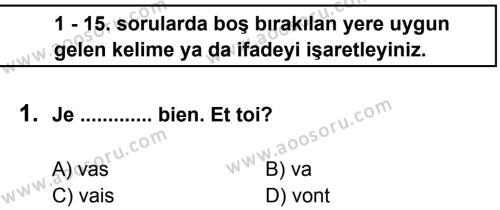 Fransızca 5 Dersi 2012 - 2013 Yılı 1. Dönem Sınavı 1. Soru
