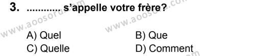 Fransızca 5 Dersi 2012 - 2013 Yılı 1. Dönem Sınavı 3. Soru