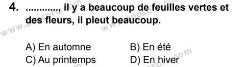 Fransızca 5 Dersi 2012 - 2013 Yılı 1. Dönem Sınavı 4. Soru