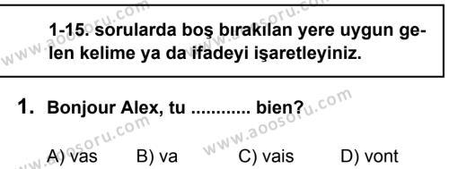 Fransızca 5 Dersi 2012 - 2013 Yılı 2. Dönem Sınavı 1. Soru