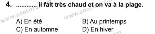 Fransızca 5 Dersi 2012 - 2013 Yılı 2. Dönem Sınavı 4. Soru