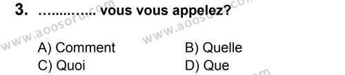 Fransızca 5 Dersi 2012 - 2013 Yılı 3. Dönem Sınavı 3. Soru