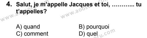 Fransızca 5 Dersi 2013 - 2014 Yılı 1. Dönem Sınavı 4. Soru