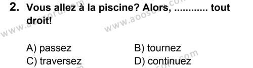 Fransızca 5 Dersi 2013 - 2014 Yılı 2. Dönem Sınavı 2. Soru