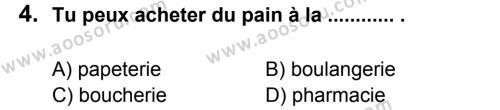 Fransızca 5 Dersi 2013 - 2014 Yılı 2. Dönem Sınavı 4. Soru