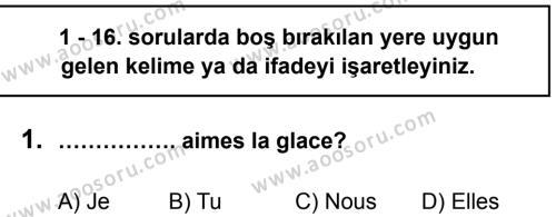 Fransızca 5 Dersi 2013 - 2014 Yılı 3. Dönem Sınavı 1. Soru