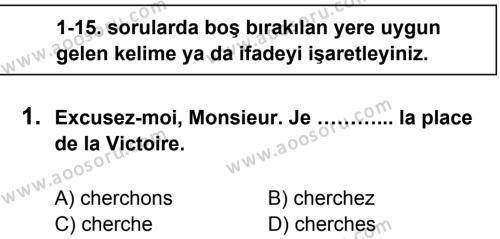 Fransızca 5 Dersi 2014 - 2015 Yılı 1. Dönem Sınavı 1. Soru
