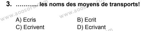 Fransızca 5 Dersi 2014 - 2015 Yılı 1. Dönem Sınavı 3. Soru