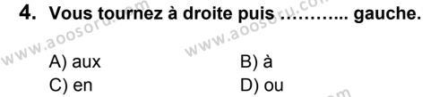 Fransızca 5 Dersi 2014 - 2015 Yılı 1. Dönem Sınavı 4. Soru