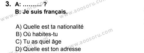 Fransızca 5 Dersi 2014 - 2015 Yılı 2. Dönem Sınavı 3. Soru