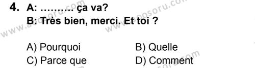 Fransızca 5 Dersi 2014 - 2015 Yılı 2. Dönem Sınavı 4. Soru