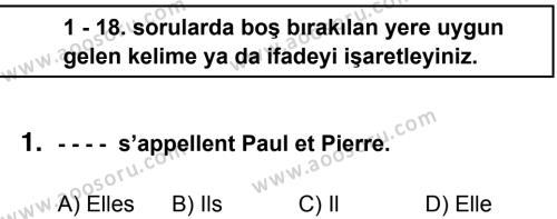 Fransızca 5 Dersi 2014 - 2015 Yılı 3. Dönem Sınavı 1. Soru